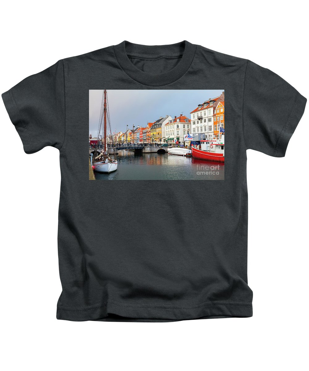 Christmas Kids T-Shirt featuring the photograph Old Harbour Of Nyhavn by Sophie McAulay