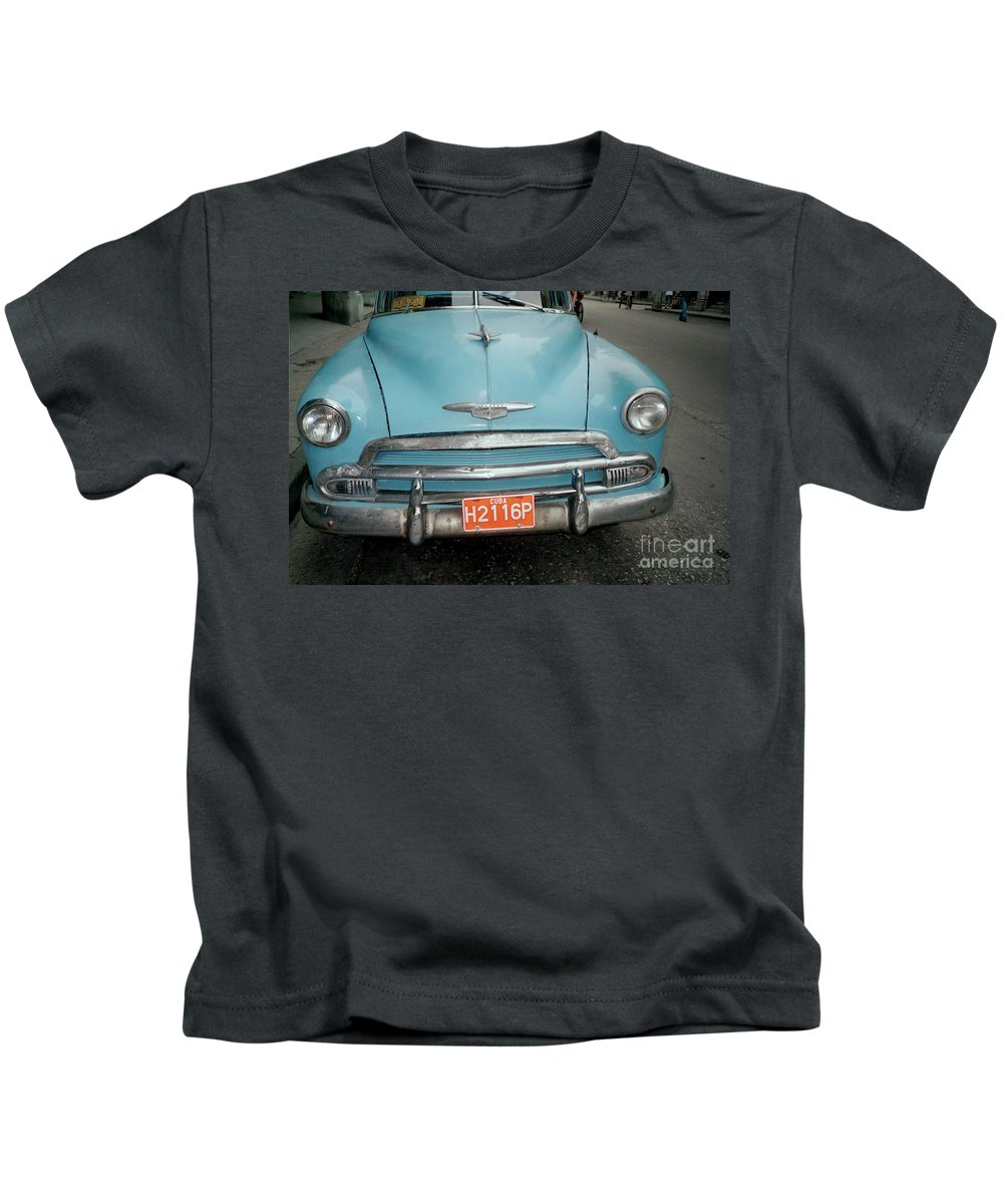Taxi Kids T-Shirt featuring the photograph Old Havana Cab by Quin Sweetman