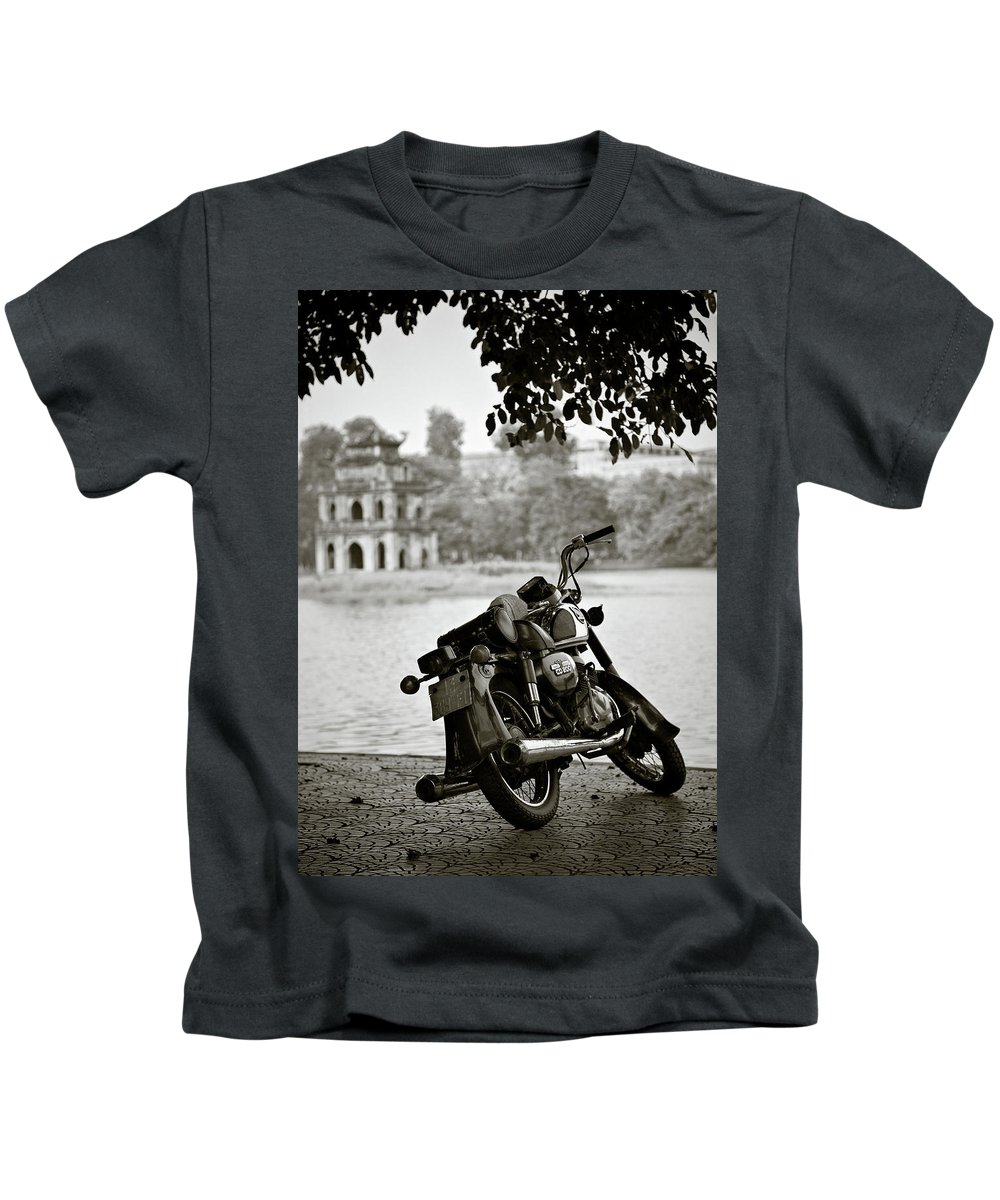 Honda Kids T-Shirt featuring the photograph Old Honda In Hanoi by Dave Bowman