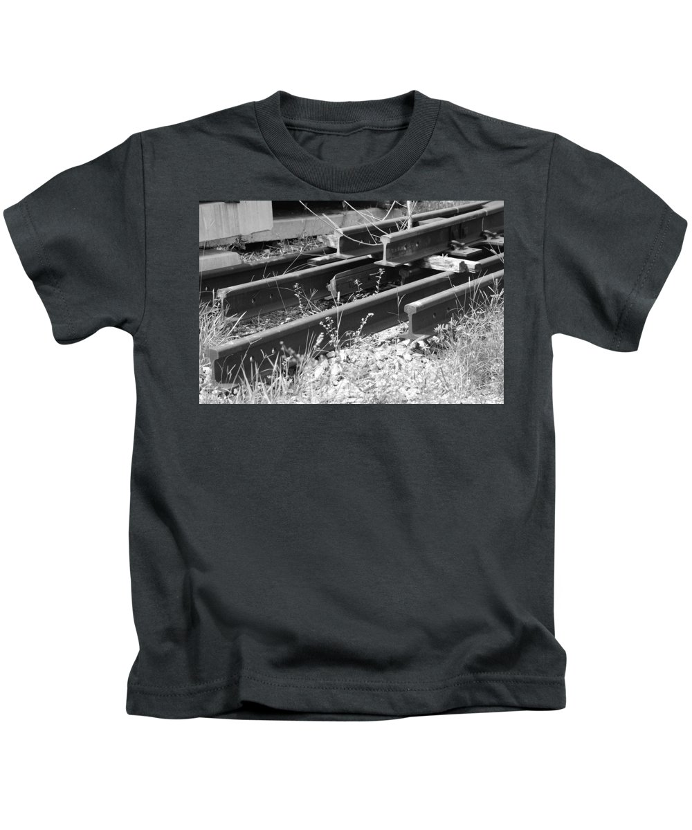 Black And White Kids T-Shirt featuring the photograph Old Rails by Rob Hans