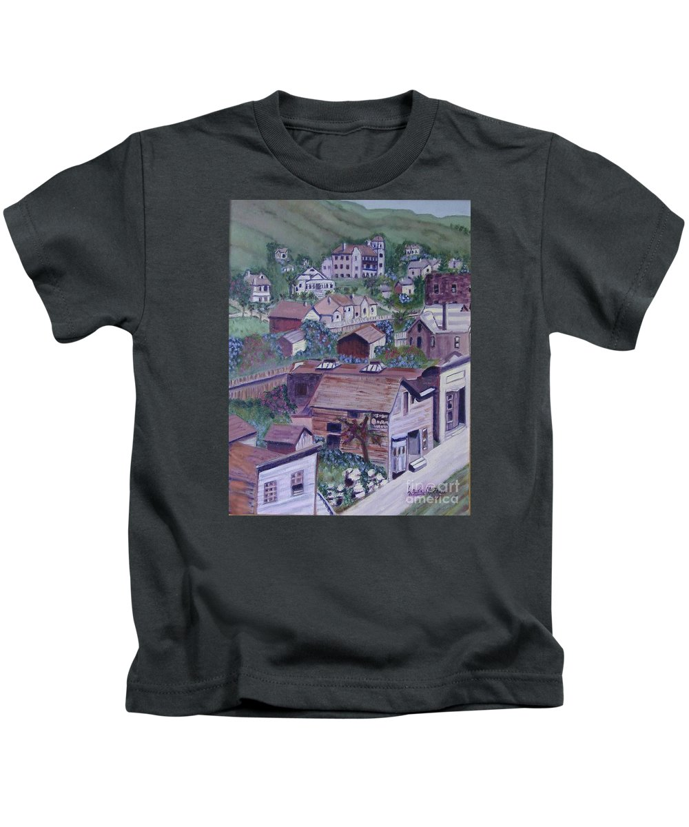 Ventura Kids T-Shirt featuring the painting Old Ventura by Laurie Morgan
