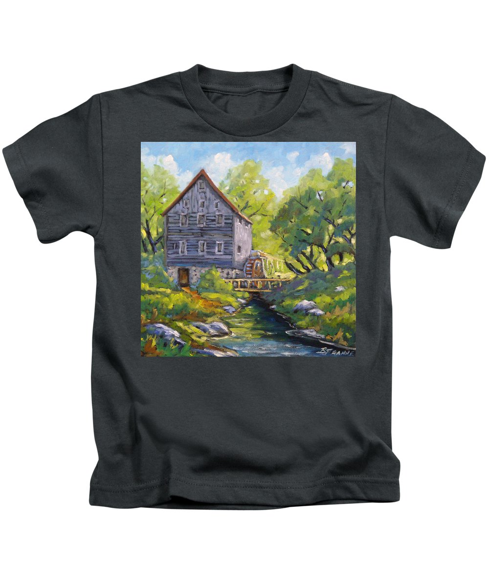 Art Kids T-Shirt featuring the painting Old Watermill by Richard T Pranke
