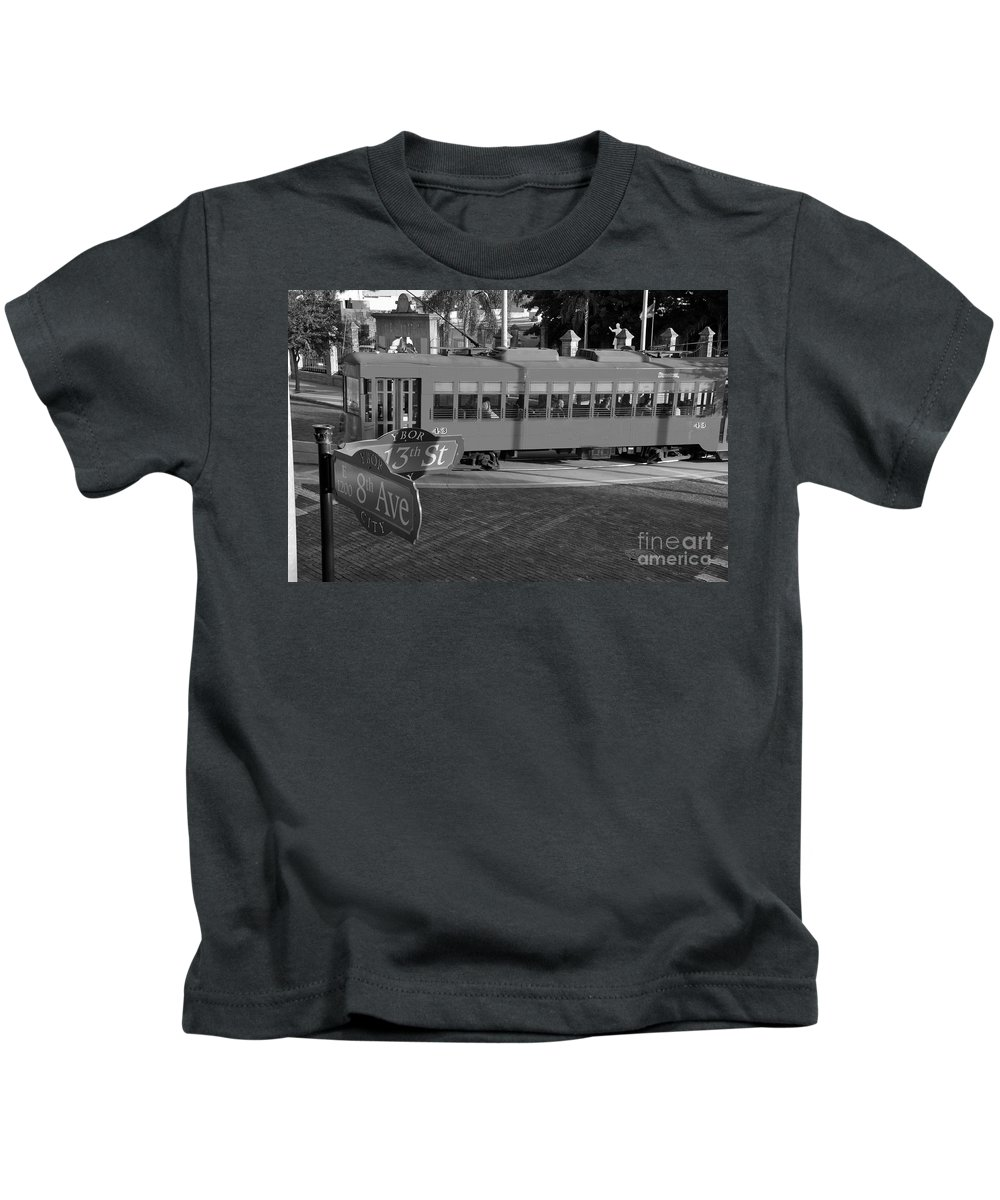 Ybor City Florida Kids T-Shirt featuring the photograph Old Ybor City Trolley by David Lee Thompson