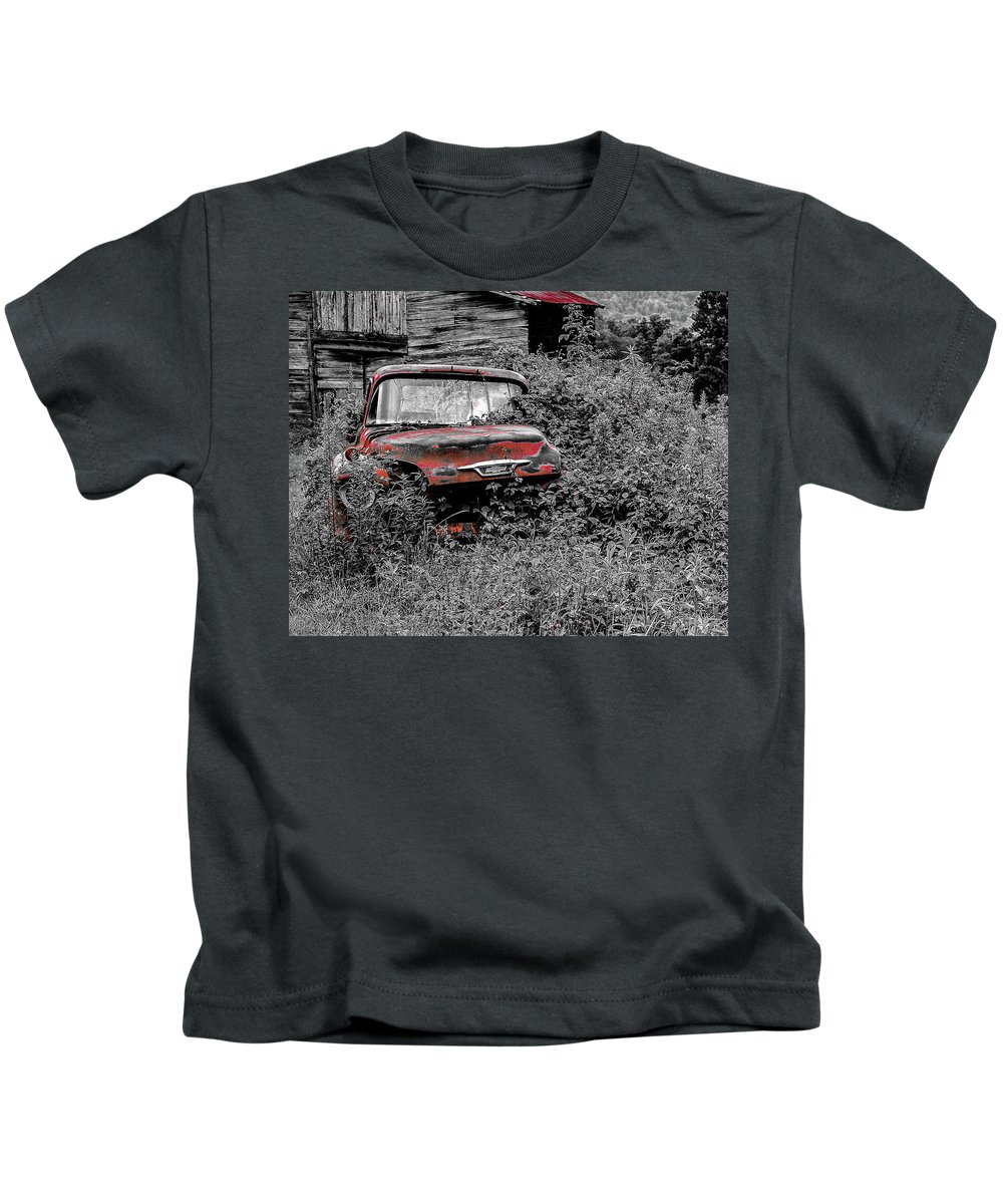 Black And White Kids T-Shirt featuring the photograph Ole Red by Rebekah Shennan