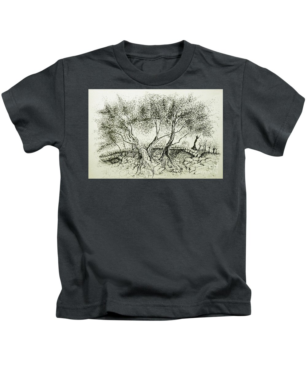 Olive Grove Kids T-Shirt featuring the drawing Olive Grove by Jasna Dragun