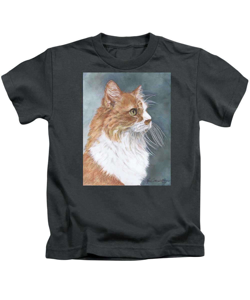 Animal Paintings Kids T-Shirt featuring the painting Oliver by Renee Catherine Wittmann