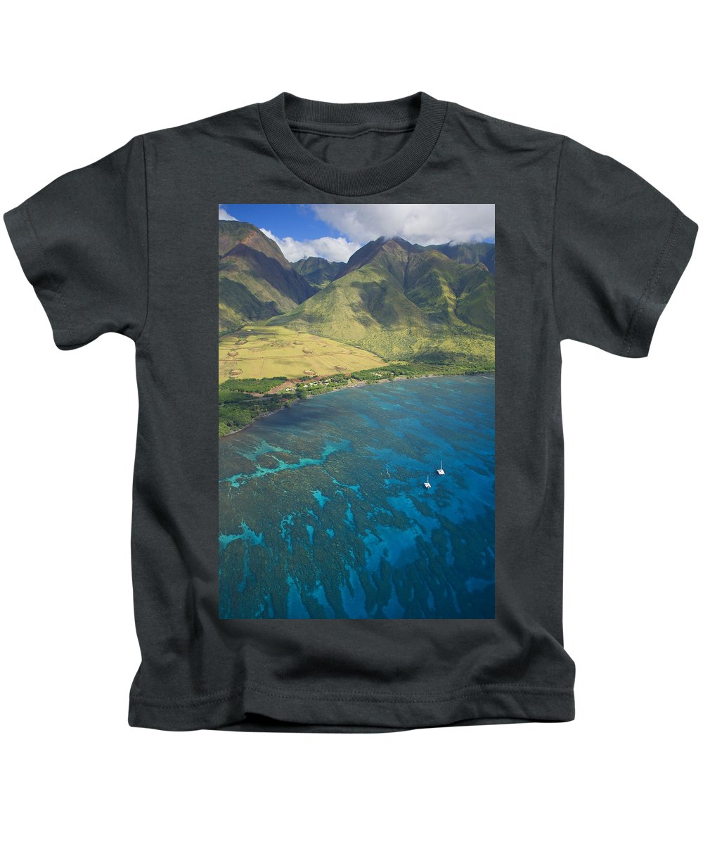 Above Kids T-Shirt featuring the photograph Olowalu Aerial by Ron Dahlquist - Printscapes