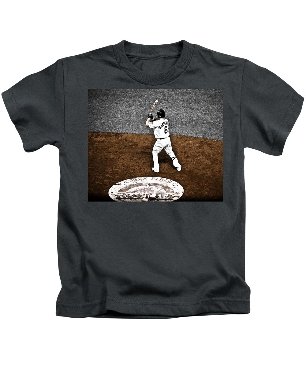 Baseball Kids T-Shirt featuring the photograph Omar Quintanilla Pro Baseball Player by Marilyn Hunt