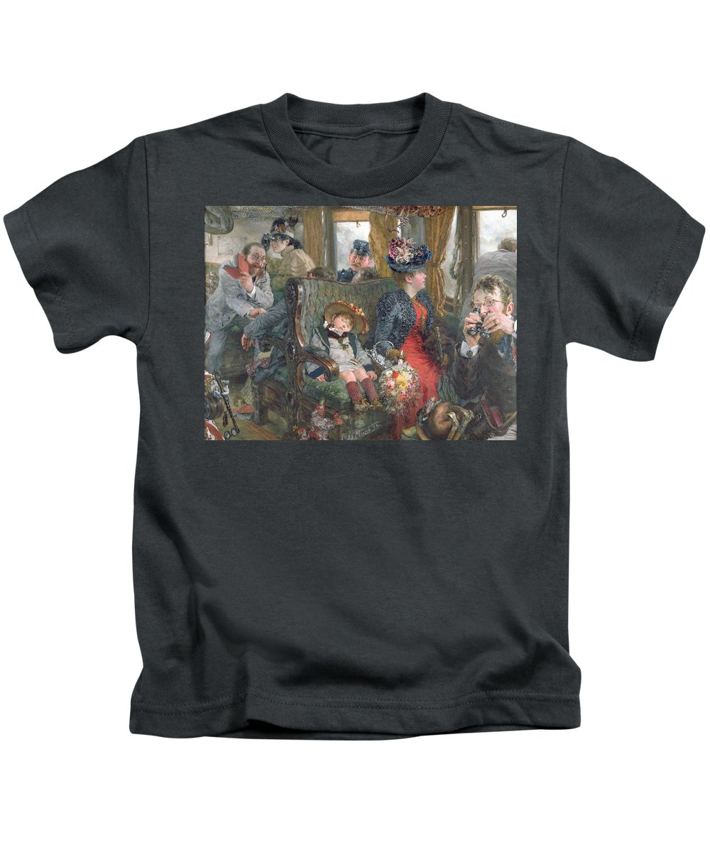 Journey Kids T-Shirt featuring the painting On A Journey To Beautiful Countryside by Adolph Friedrich Erdmann von Menzel