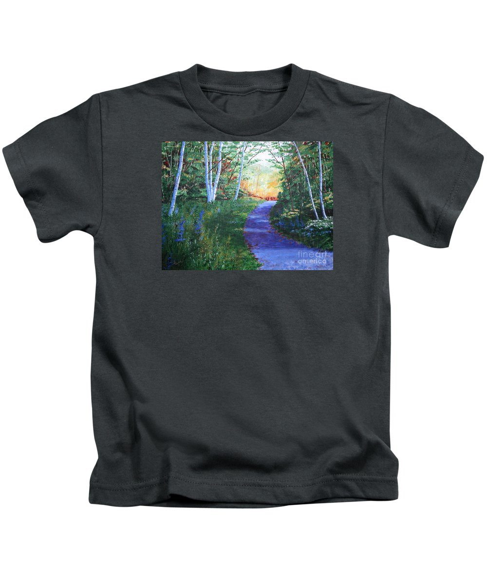Pathway Kids T-Shirt featuring the painting On The Path by Lynn Quinn