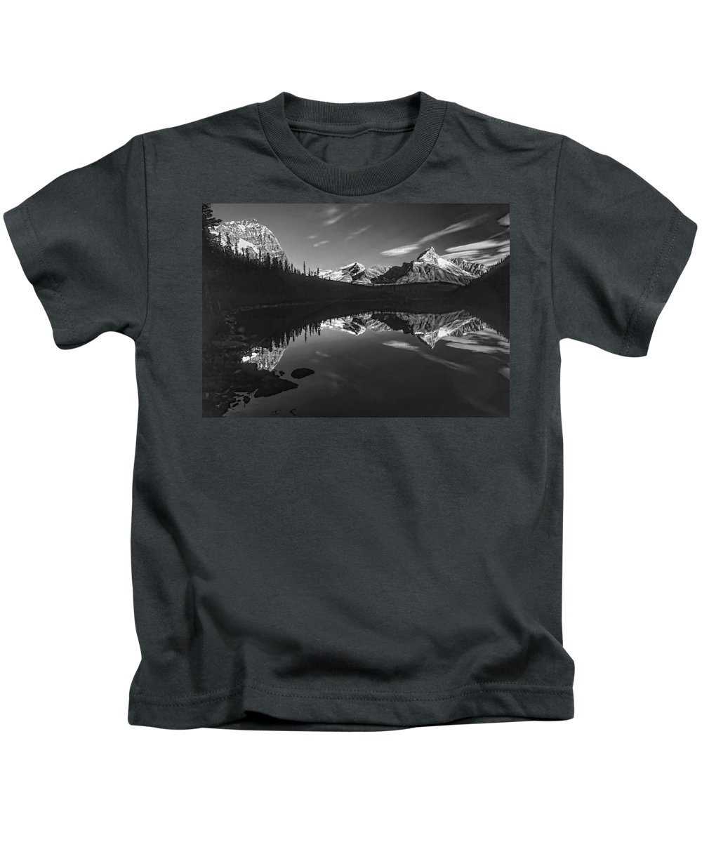 Mountains Kids T-Shirt featuring the photograph On The Trail Bw by Steve Harrington