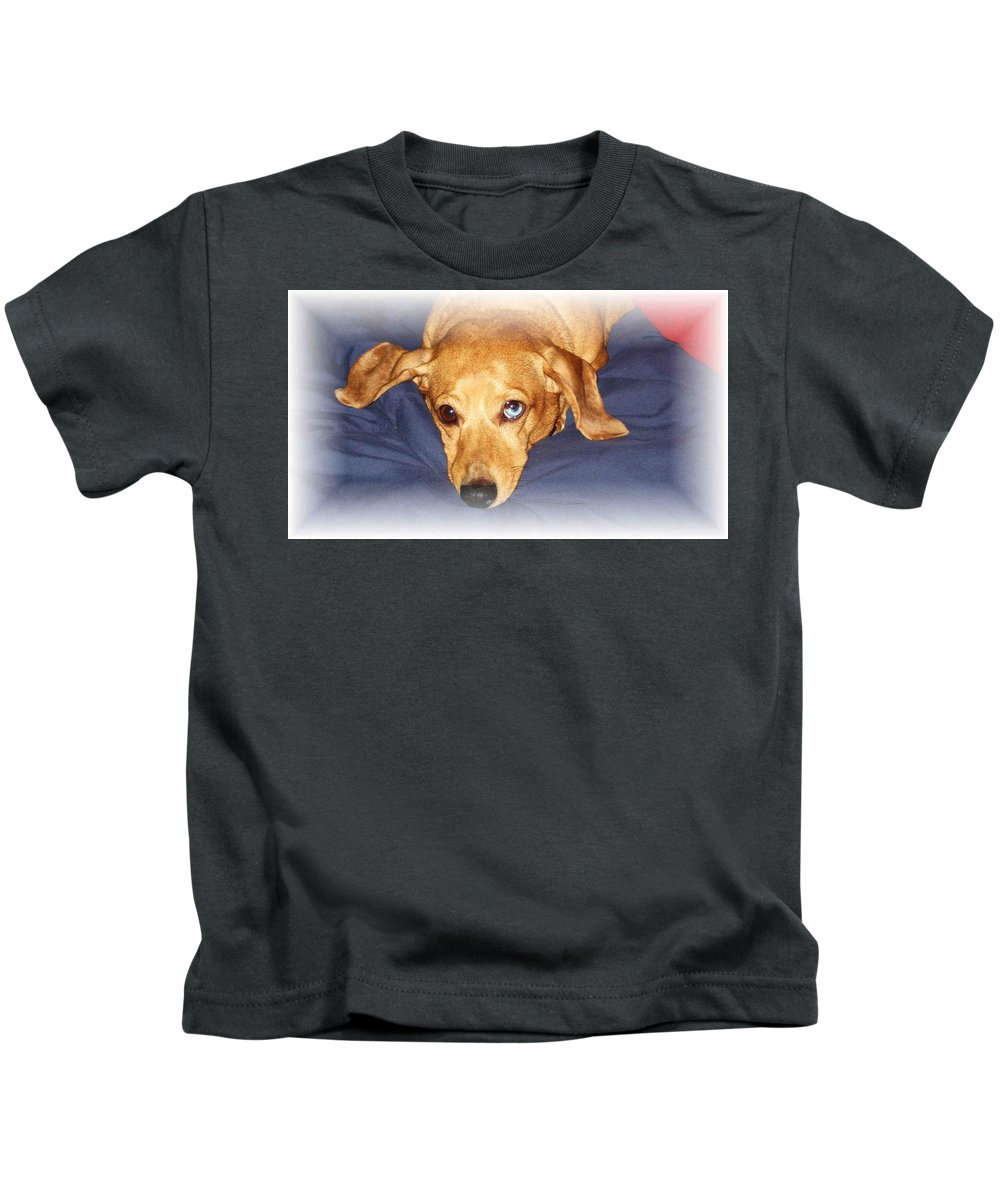 Dachshund Kids T-Shirt featuring the photograph One Blue Eye by Nelson Strong