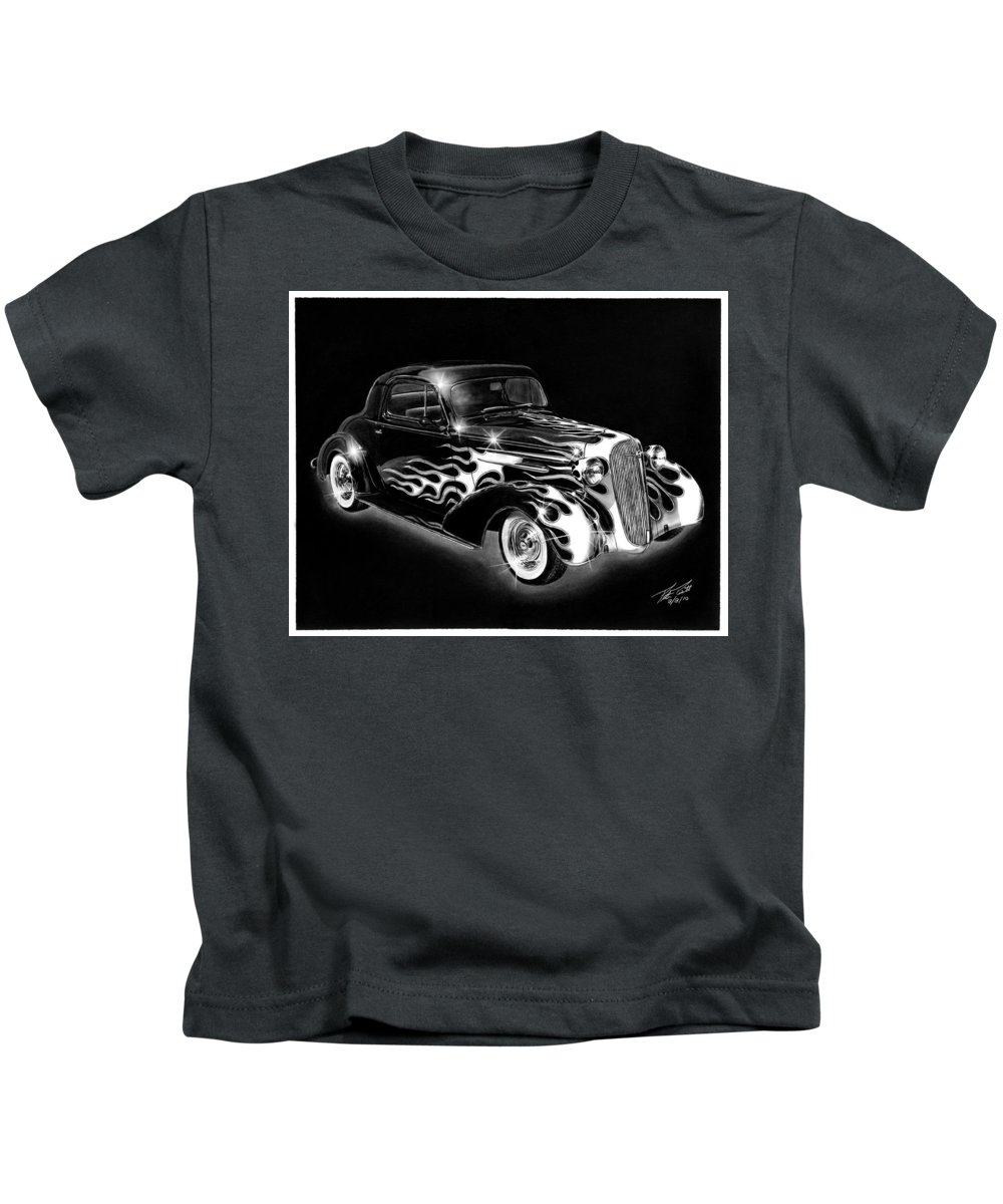 One Hot 1936 Chevrolet Coupe Kids T-Shirt featuring the drawing One Hot 1936 Chevrolet Coupe by Peter Piatt