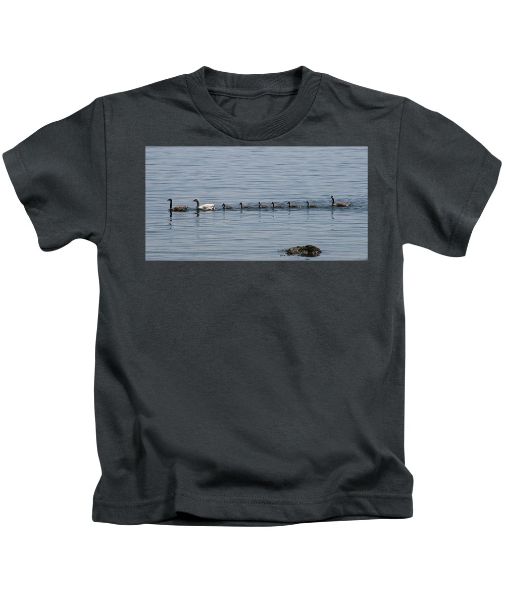 Geese Kids T-Shirt featuring the photograph One In Every Family by Glenn Wachtman