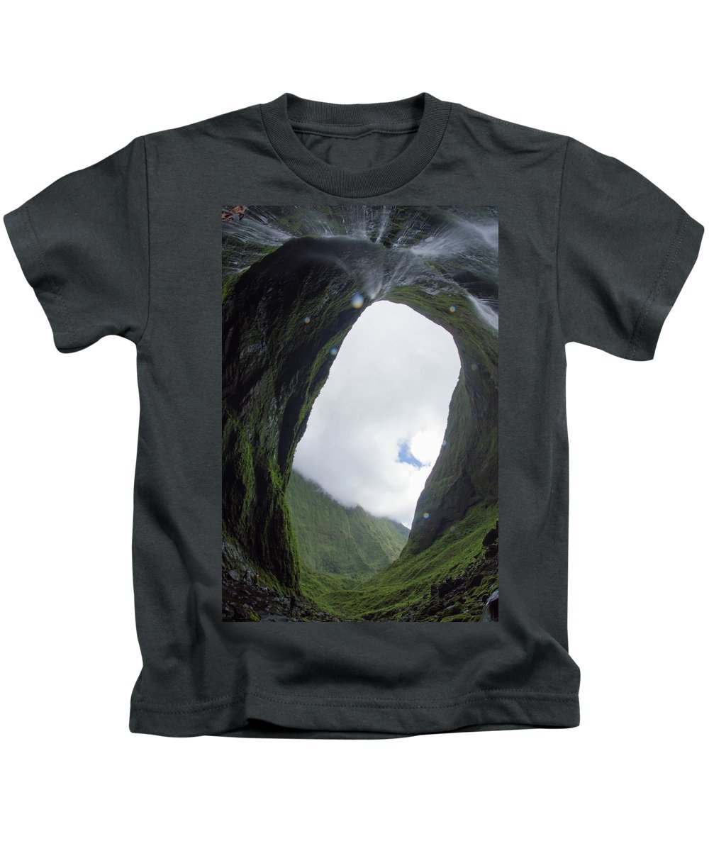 Hawaii Kids T-Shirt featuring the photograph One Of The Wettest Spots On Eart by Kawai Barrett