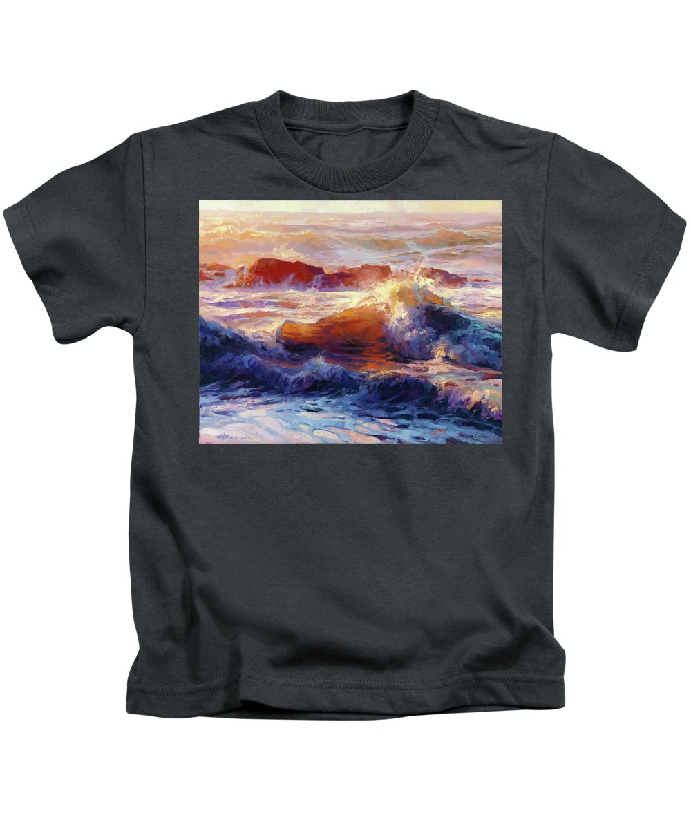 Ocean Kids T-Shirt featuring the painting Opalescent Sea by Steve Henderson