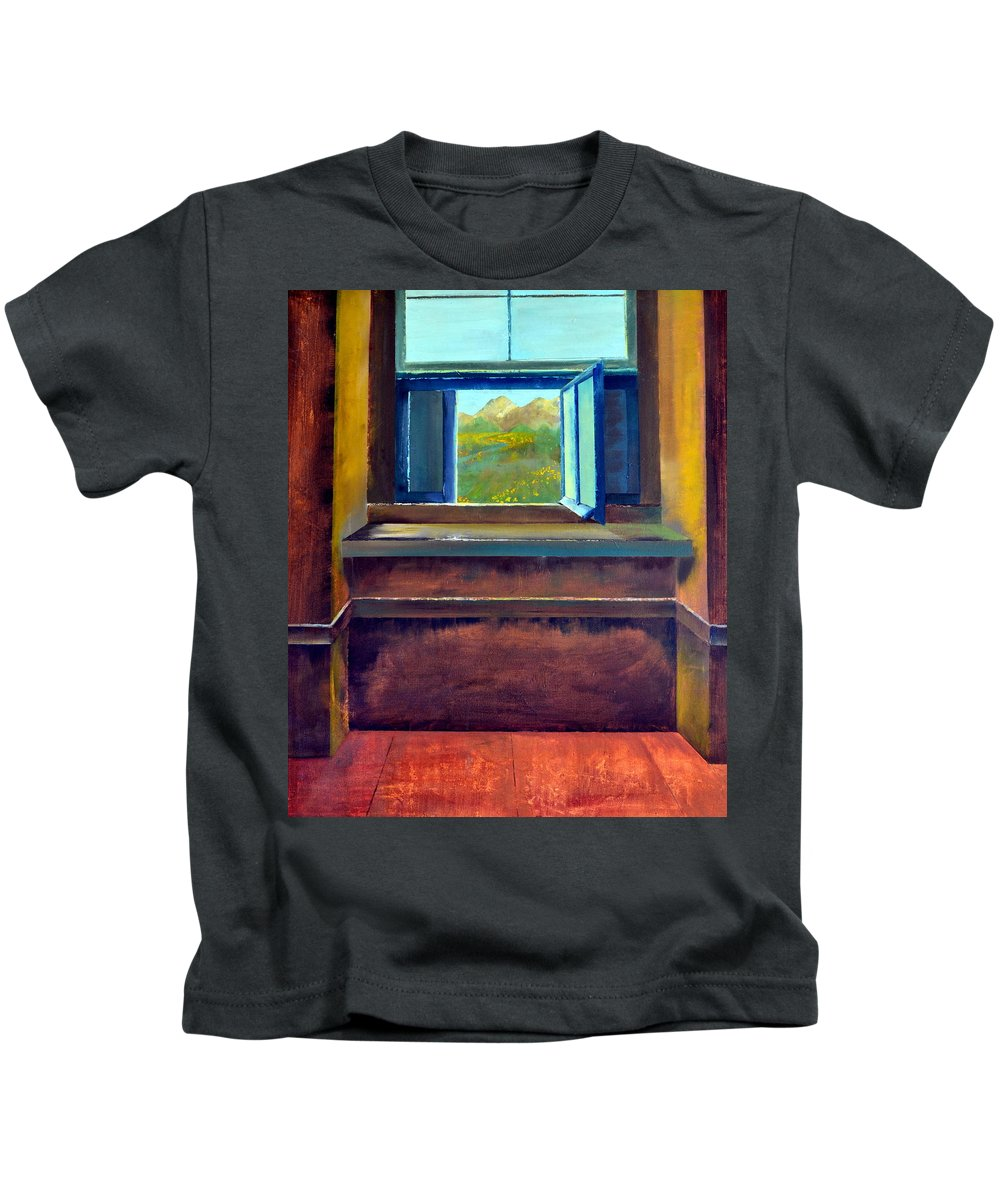 Trompe L'oeil Kids T-Shirt featuring the painting Open Window by Michelle Calkins