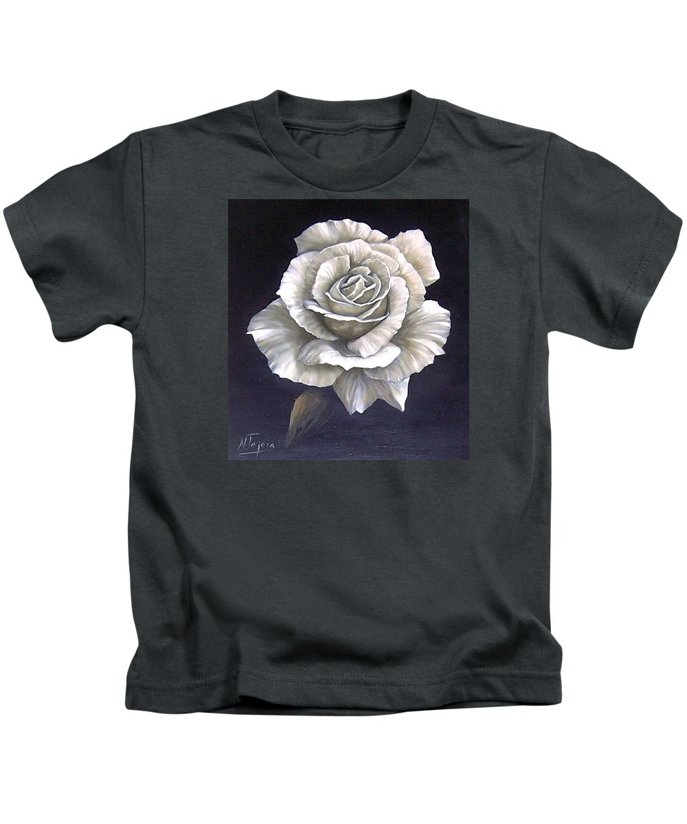 Rose Flower Kids T-Shirt featuring the painting Opened Rose by Natalia Tejera
