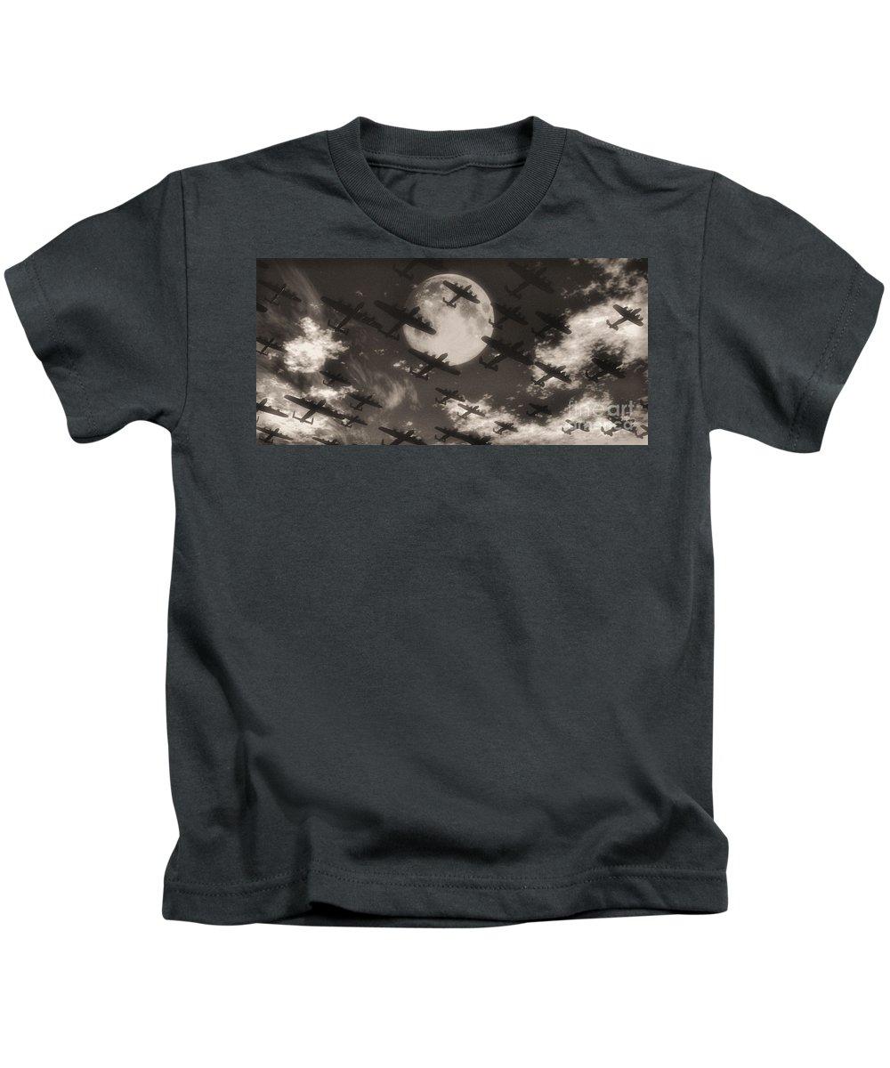 Aviaton Kids T-Shirt featuring the digital art Operation Moonlight by Richard Rizzo