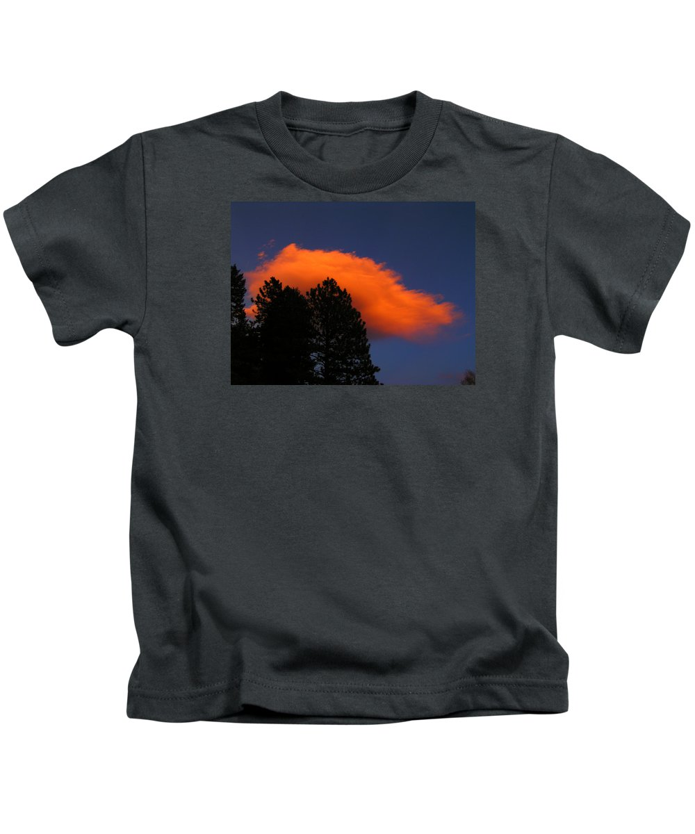 Cloud Forest Colorado Sky Sunset Nature Zen Simple Rocky Mountains Kids T-Shirt featuring the photograph Orange Cloud by George Tuffy