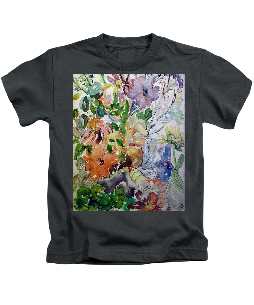 Watercolors Kids T-Shirt featuring the painting Orange Flowers by Evelyn Bell Vodicka