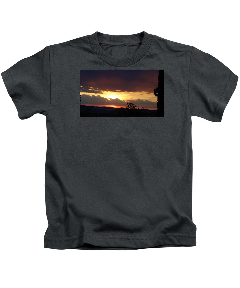 Sunset Kids T-Shirt featuring the photograph Orange September Sunset by Toni Berry