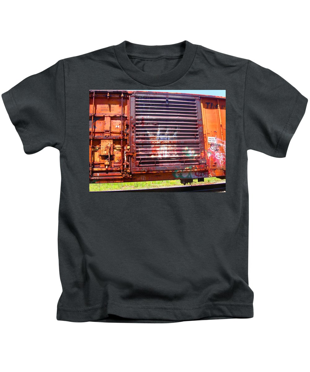 Train Kids T-Shirt featuring the photograph Orange Train Car by Anne Cameron Cutri