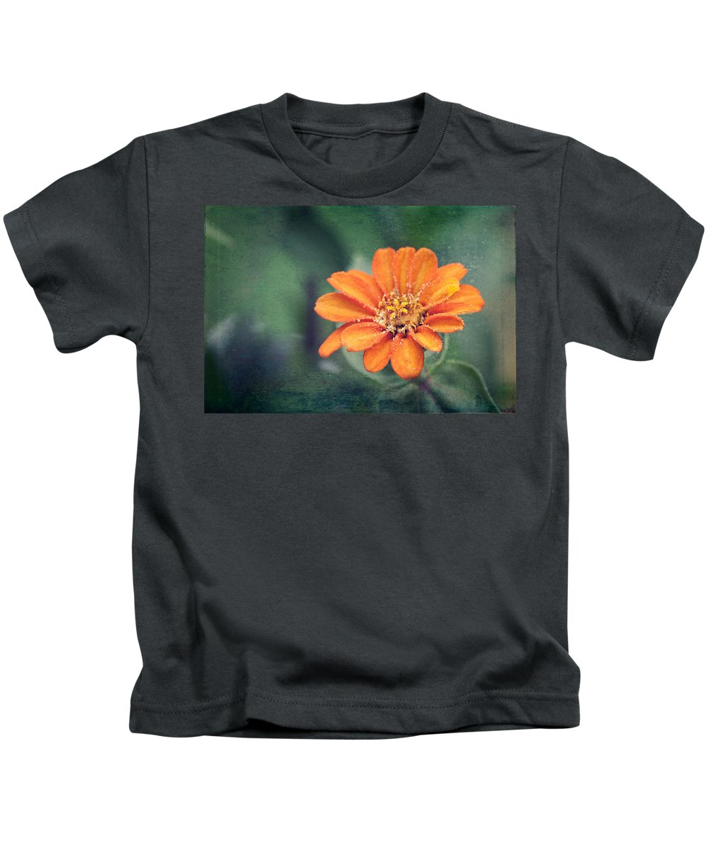 flower Kids T-Shirt featuring the photograph Orange Zinnia by Christopher Meade