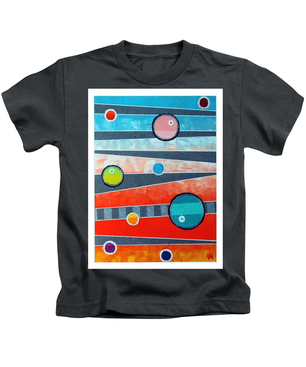 Acrylic Kids T-Shirt featuring the painting Orbs On Planes #2 by Jeremy Aiyadurai
