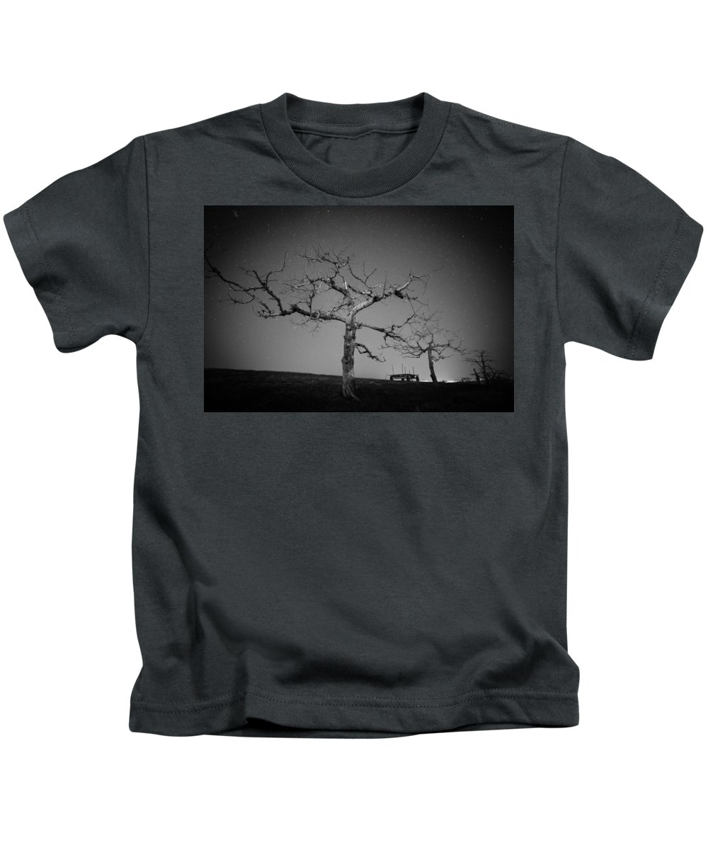 Kids T-Shirt featuring the photograph Orchard Bw by Jason Rinehart