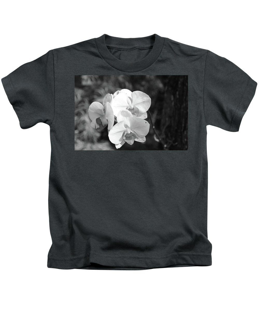 Orchid Kids T-Shirt featuring the photograph Orchid In Black And White by Timothy Markley