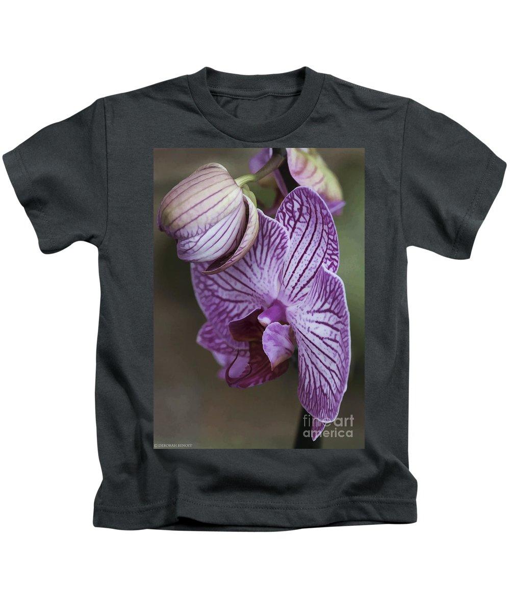Flower Kids T-Shirt featuring the photograph Orchid Strips by Deborah Benoit