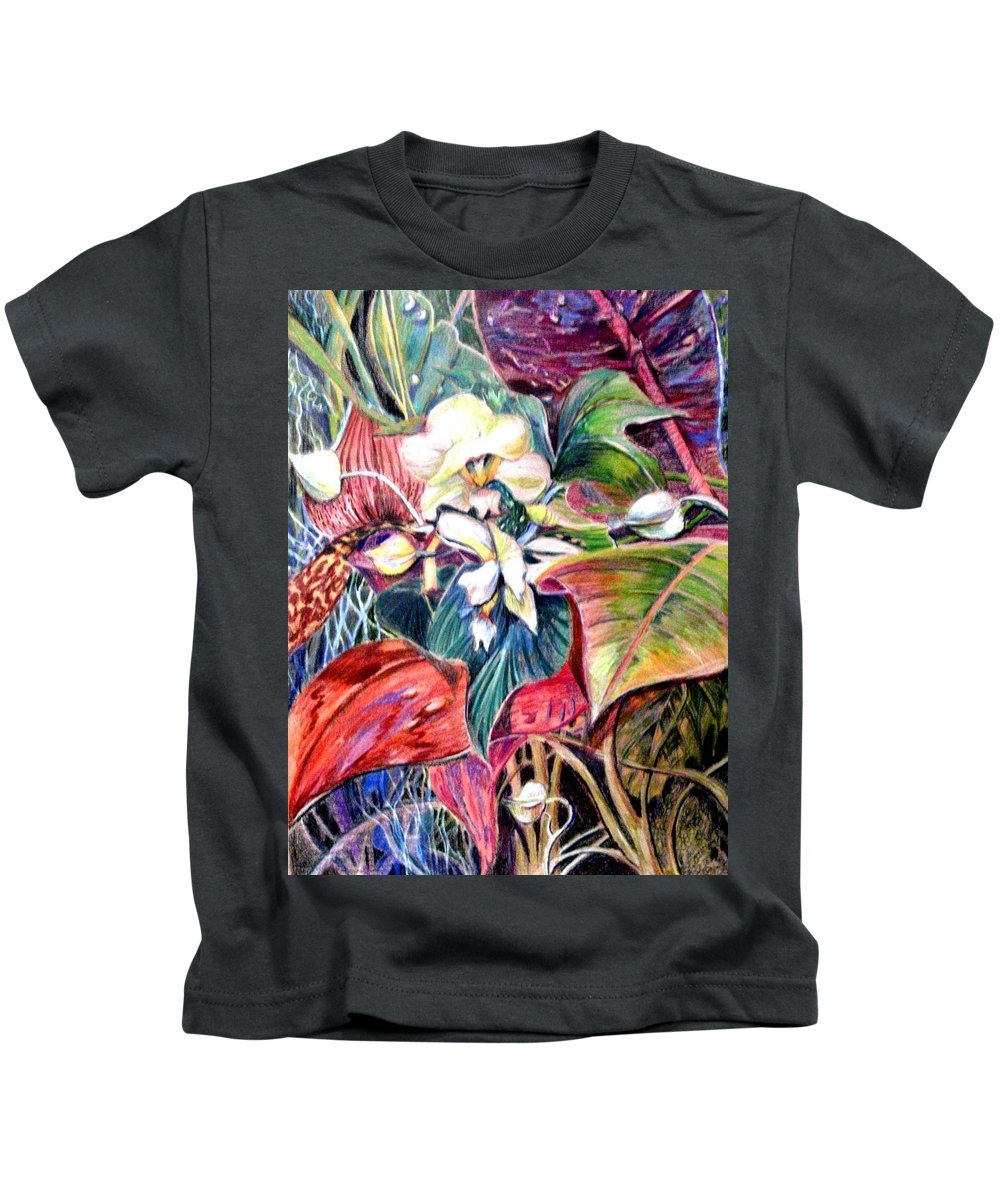 Valentines Kids T-Shirt featuring the drawing Orchids In White by Mindy Newman