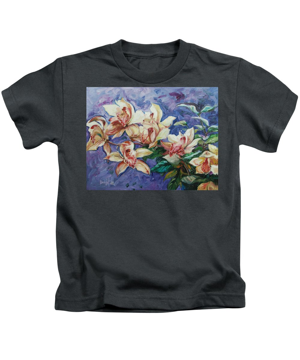 Flowers Kids T-Shirt featuring the painting Orchids by Rick Nederlof