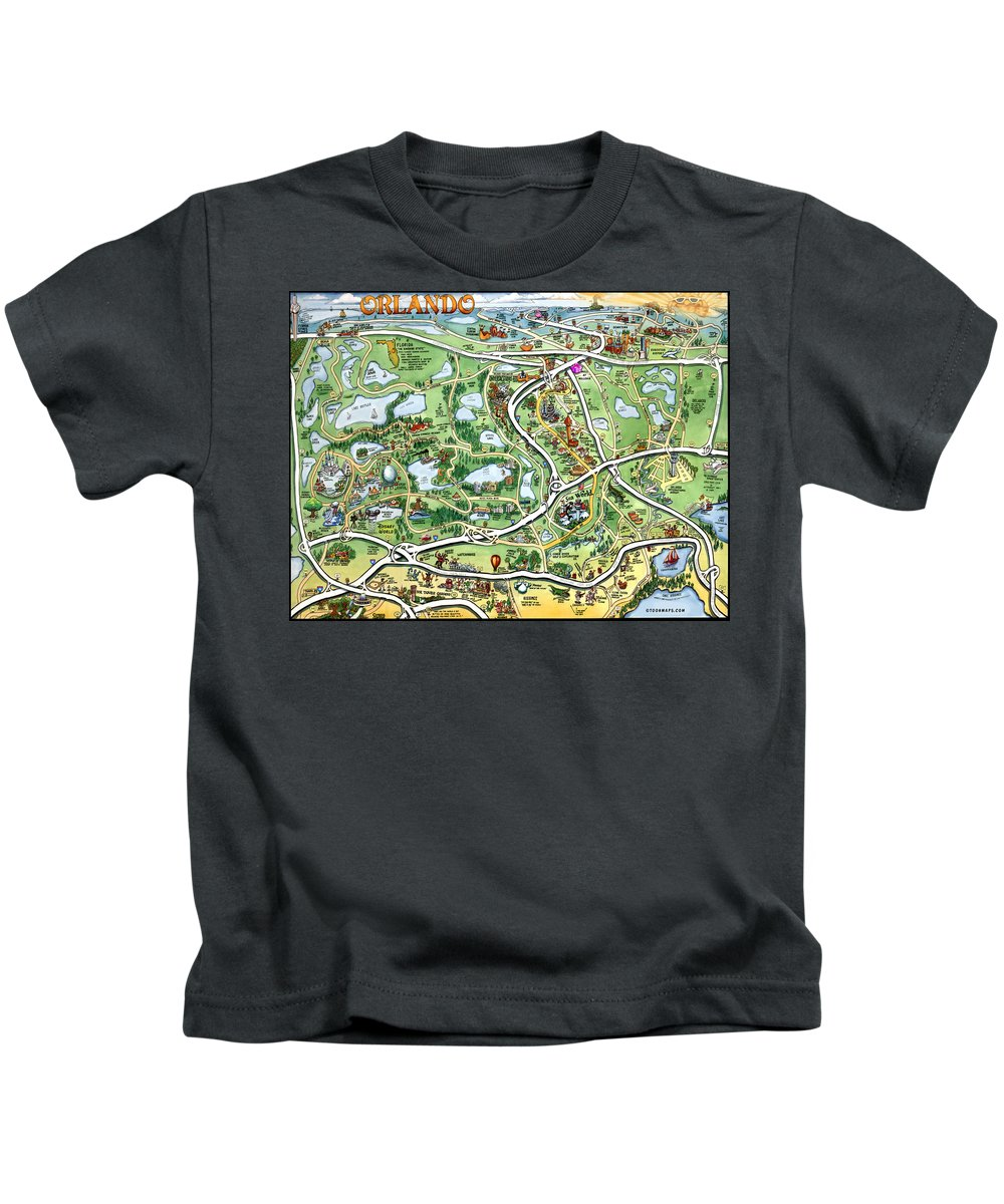 Orlando Kids T-Shirt featuring the digital art Orlando Florida Cartoon Map by Kevin Middleton