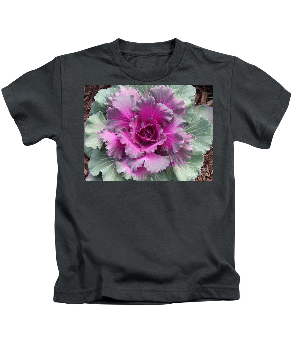 Cabbage Kids T-Shirt featuring the photograph Ornamental Red Cabbage by Mary Watson