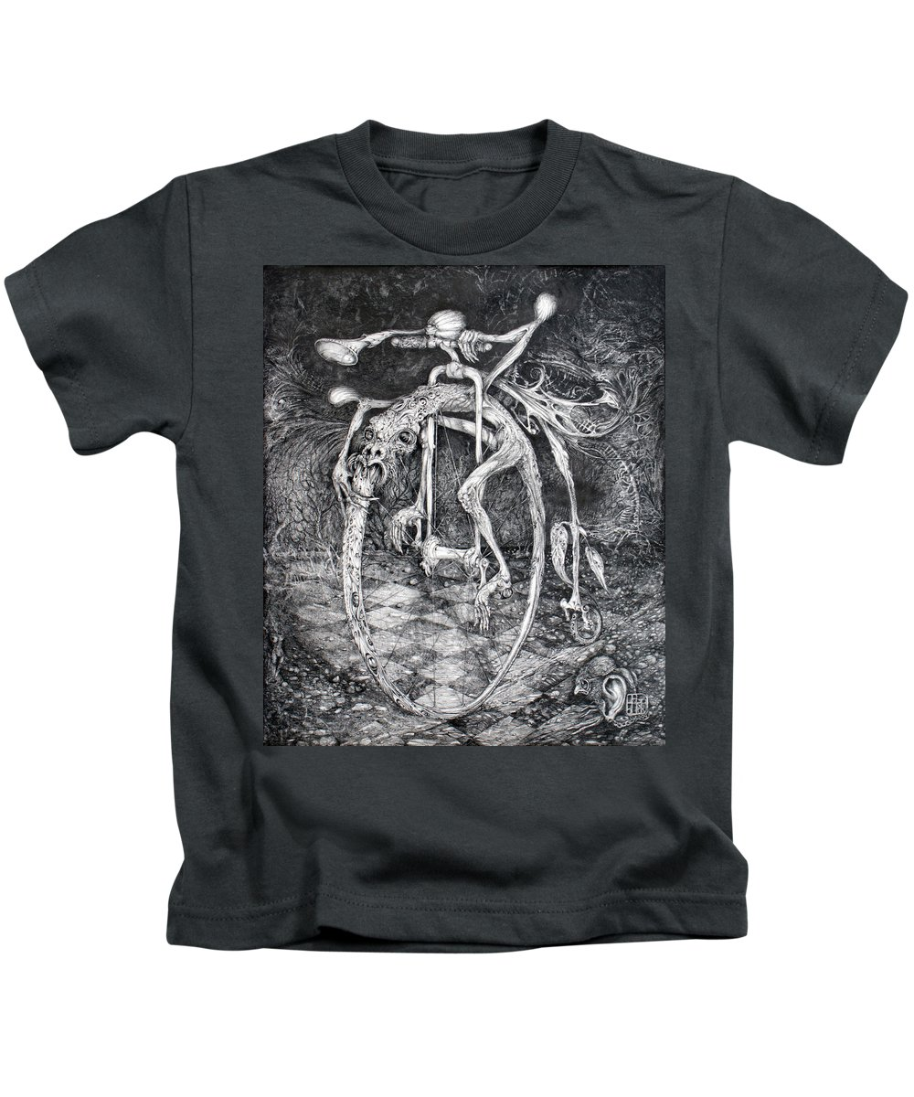 Ouroboros Kids T-Shirt featuring the drawing Ouroboros Perpetual Motion Machine by Otto Rapp