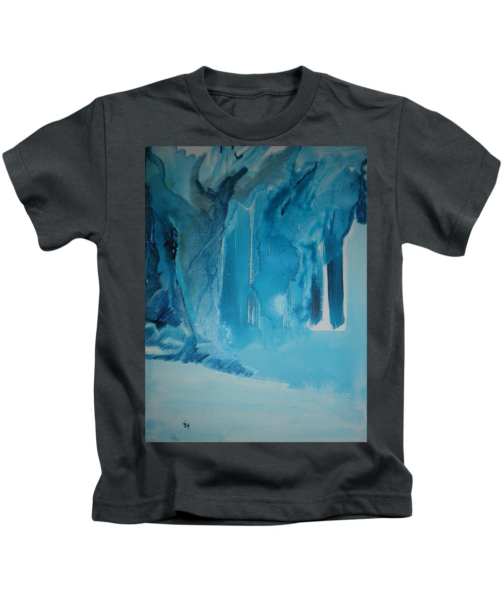Blue Kids T-Shirt featuring the painting Out Of The Blue by Solenn Carriou