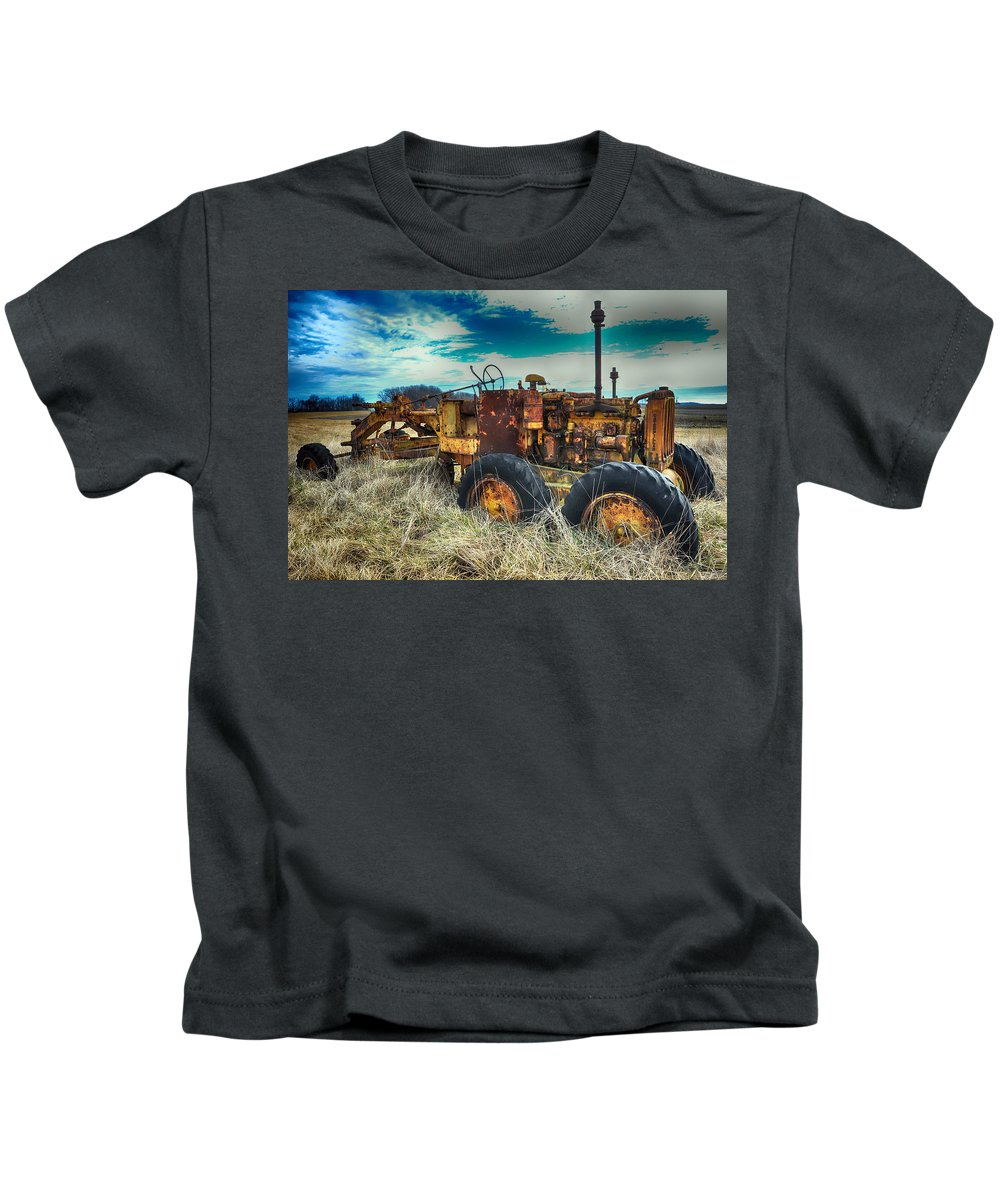 Machinery Kids T-Shirt featuring the photograph Out To Pasture by Steve Archbold