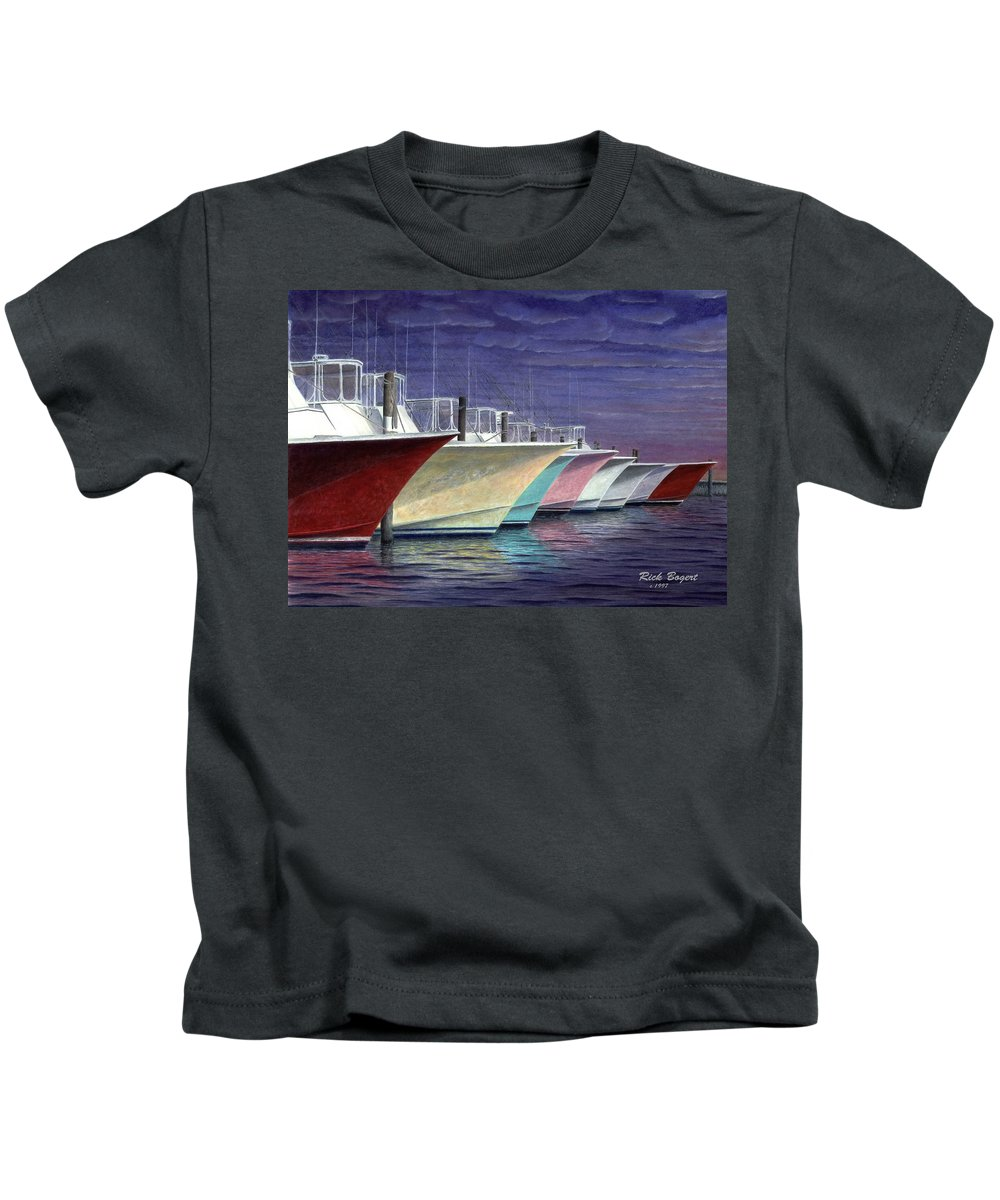 Outerbanks Kids T-Shirt featuring the painting Outer Banks Line-up by Rick Bogert