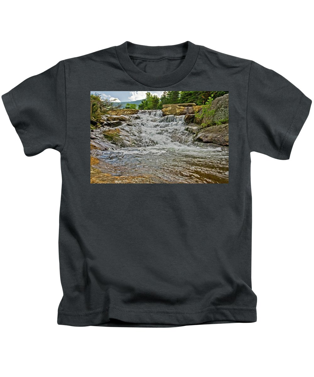 white Mountains Kids T-Shirt featuring the photograph Over Natures Dam by Paul Mangold