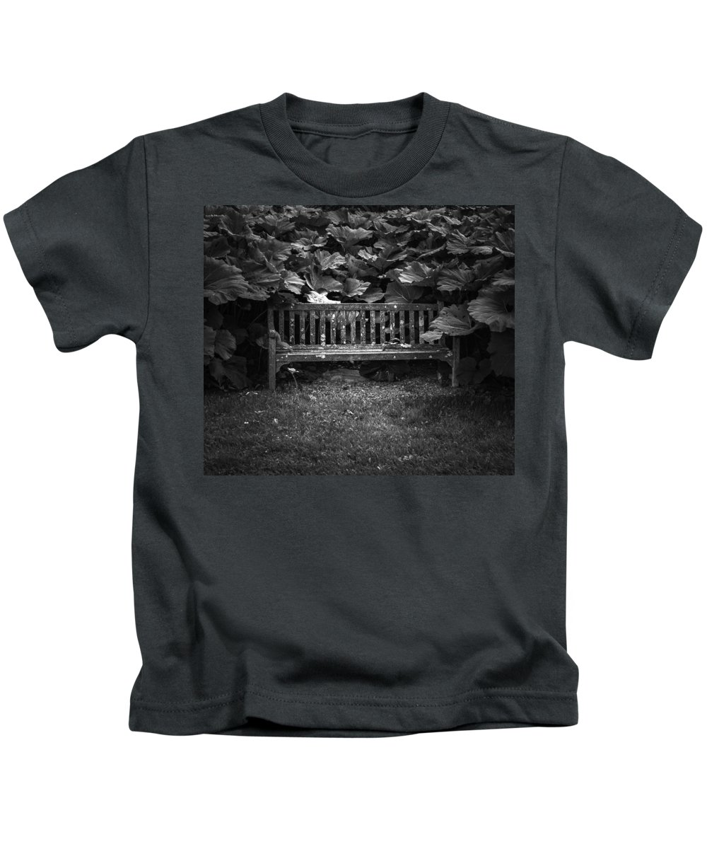 Park Bench Kids T-Shirt featuring the photograph Overgrown by Jason Moynihan