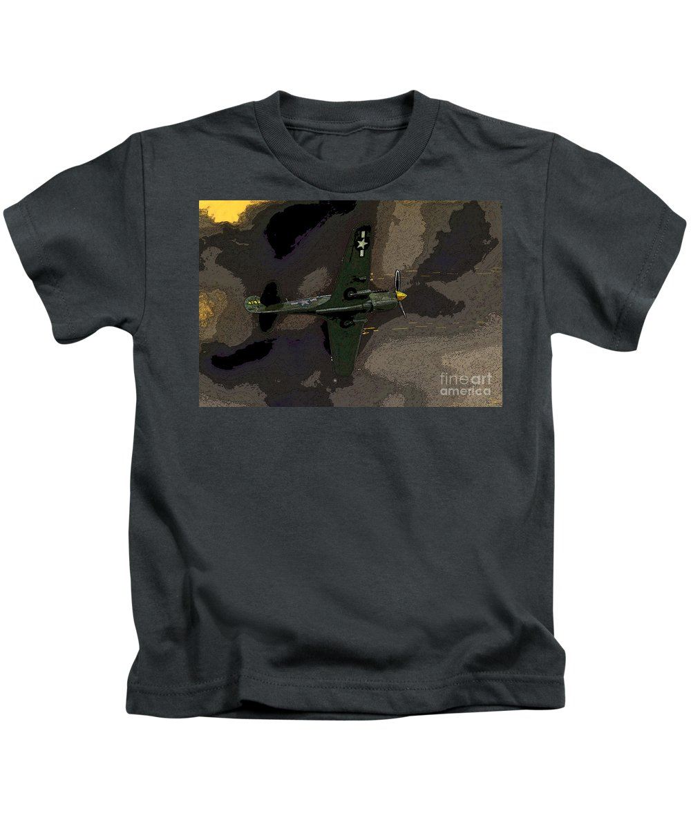 Artwork Kids T-Shirt featuring the painting P 40 Warhawk In Action by David Lee Thompson