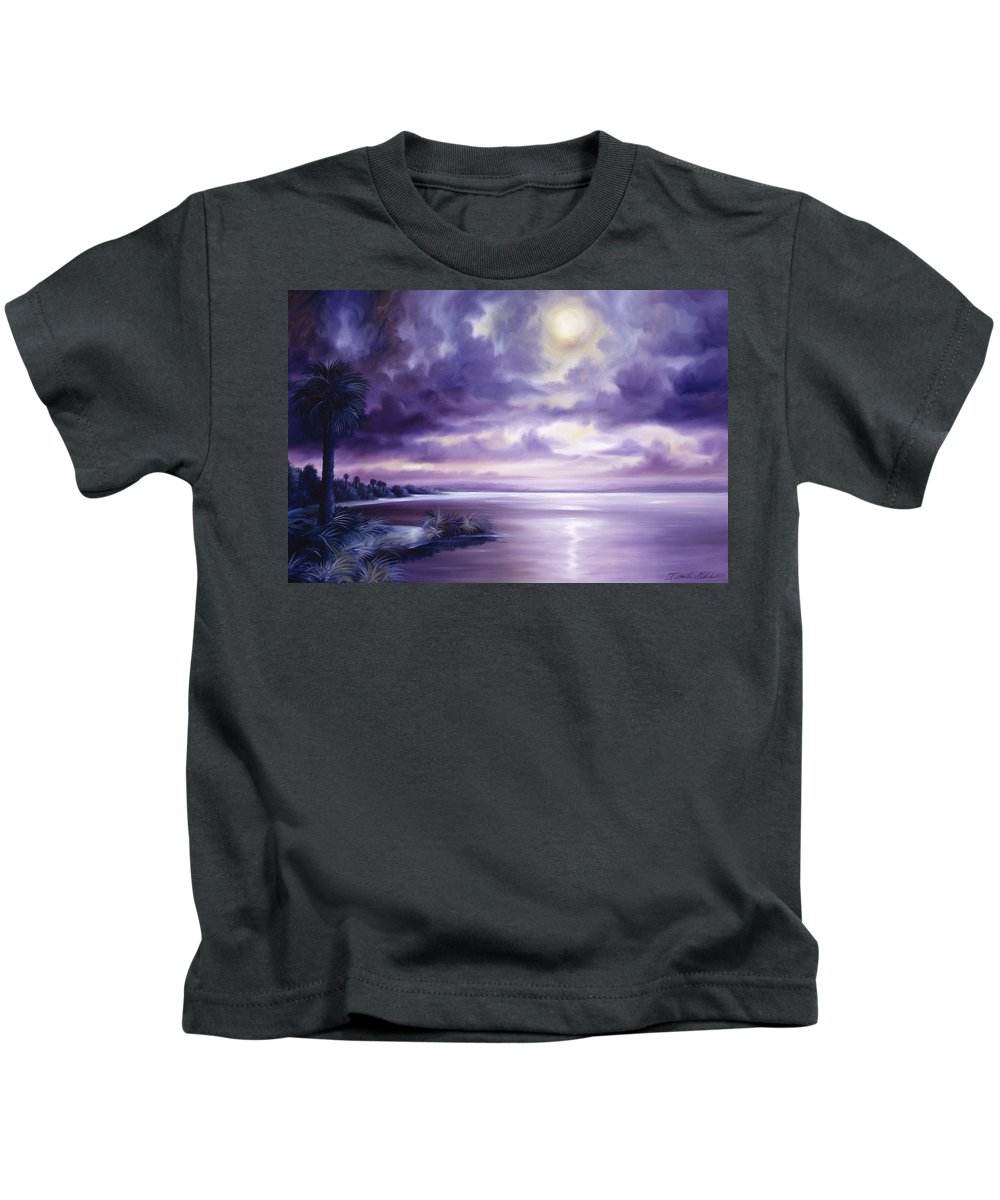 Moon Kids T-Shirt featuring the painting Palmetto Moonscape by James Christopher Hill