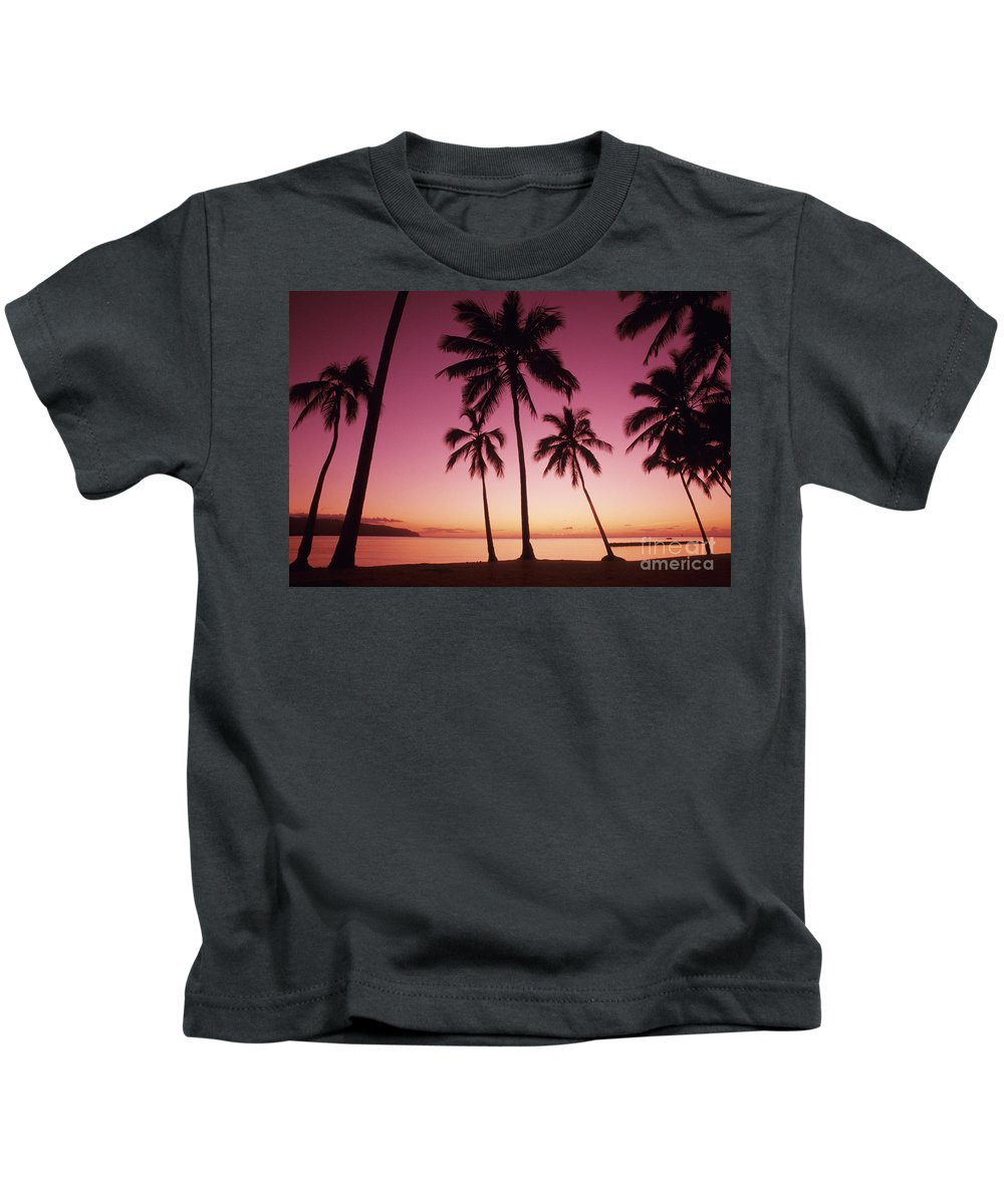 Beach Kids T-Shirt featuring the photograph Palms Against Pink Sunset by Carl Shaneff - Printscapes