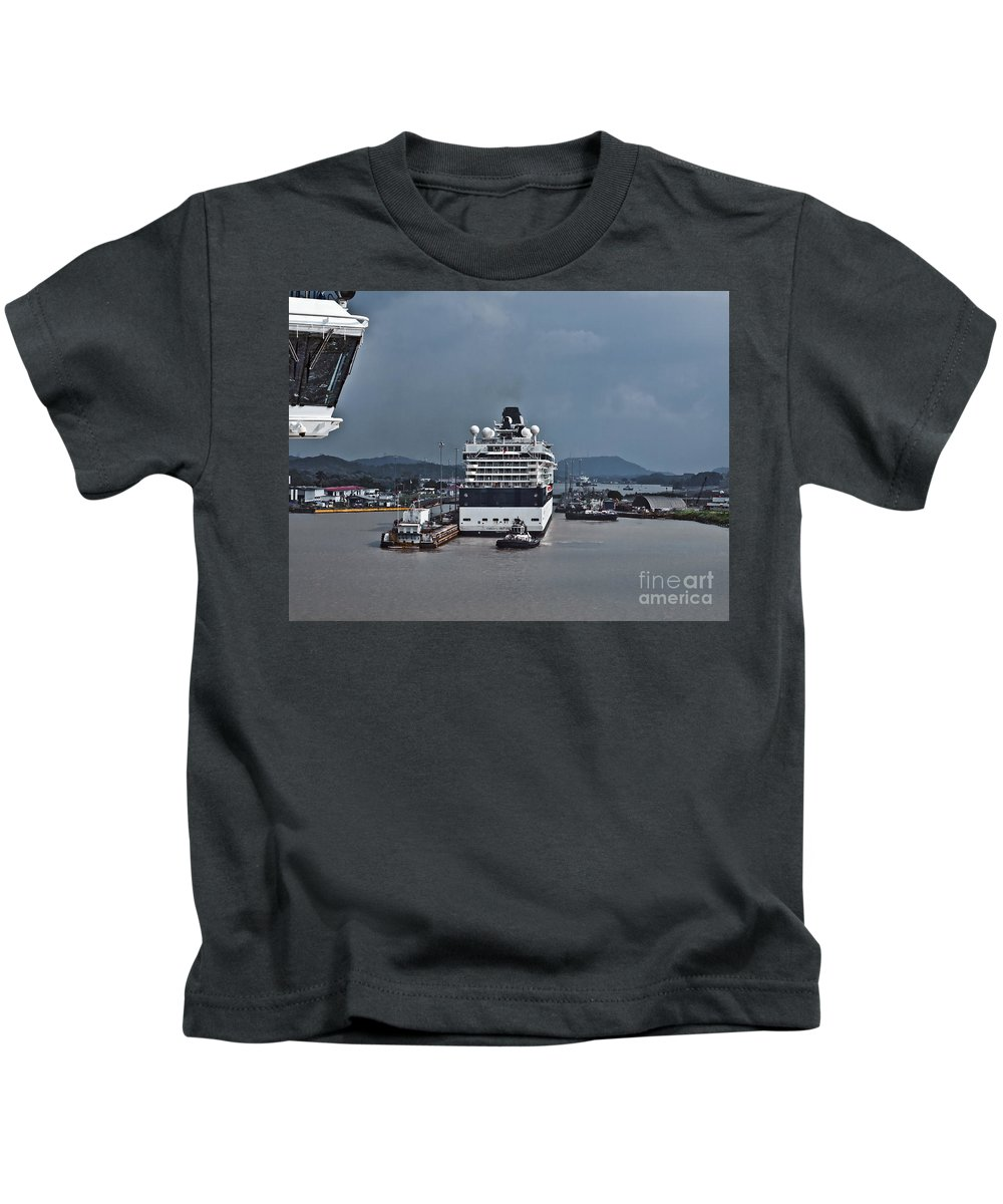 Boats Kids T-Shirt featuring the photograph Panama077 by Howard Stapleton