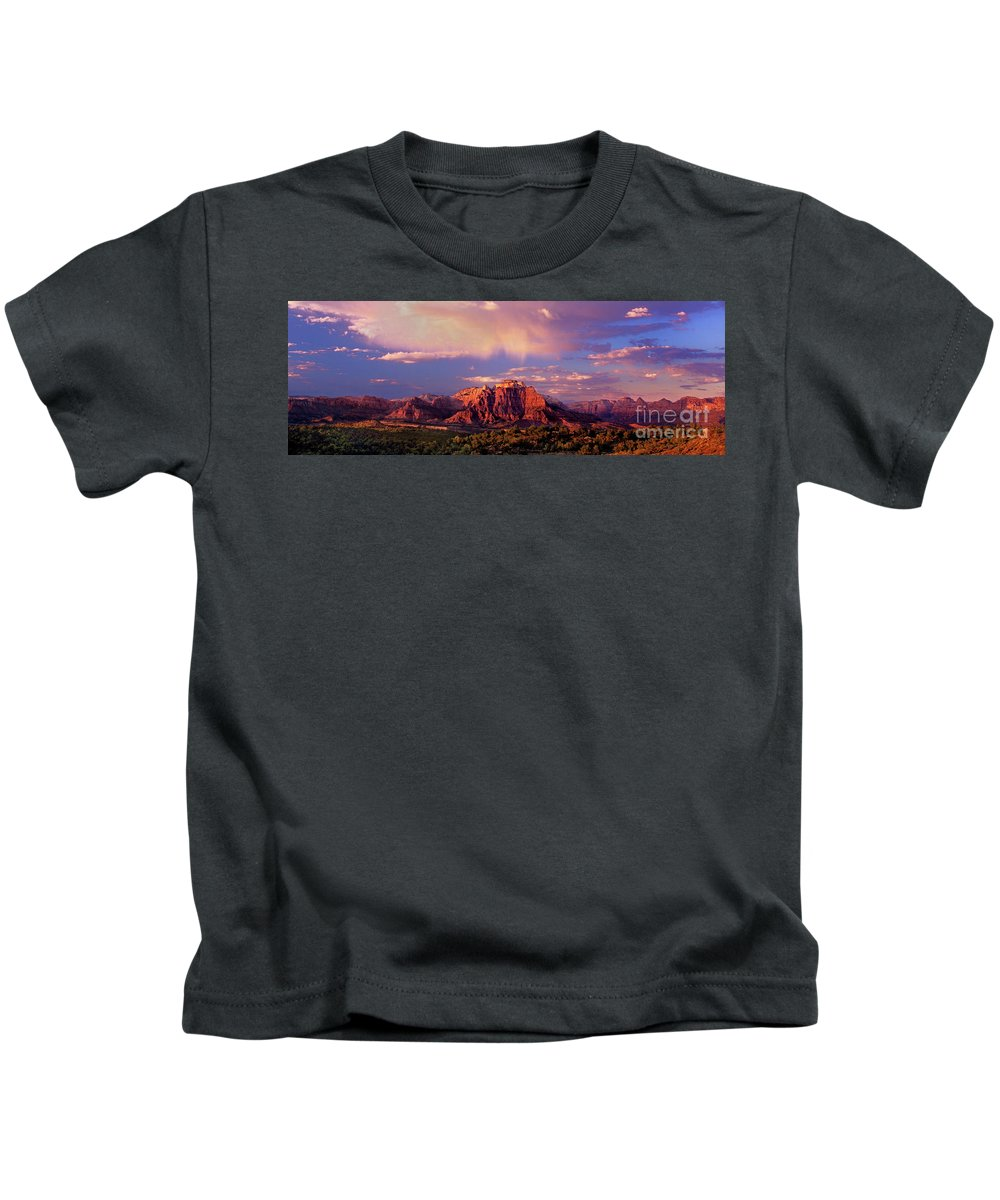 North America Kids T-Shirt featuring the photograph Panorama West Temple At Sunset Zion Natonal Park by Dave Welling