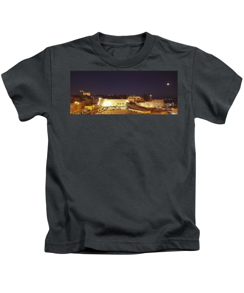 Israel Kids T-Shirt featuring the photograph Panoramic Night View Of The Wailing Wall by Alon Meir