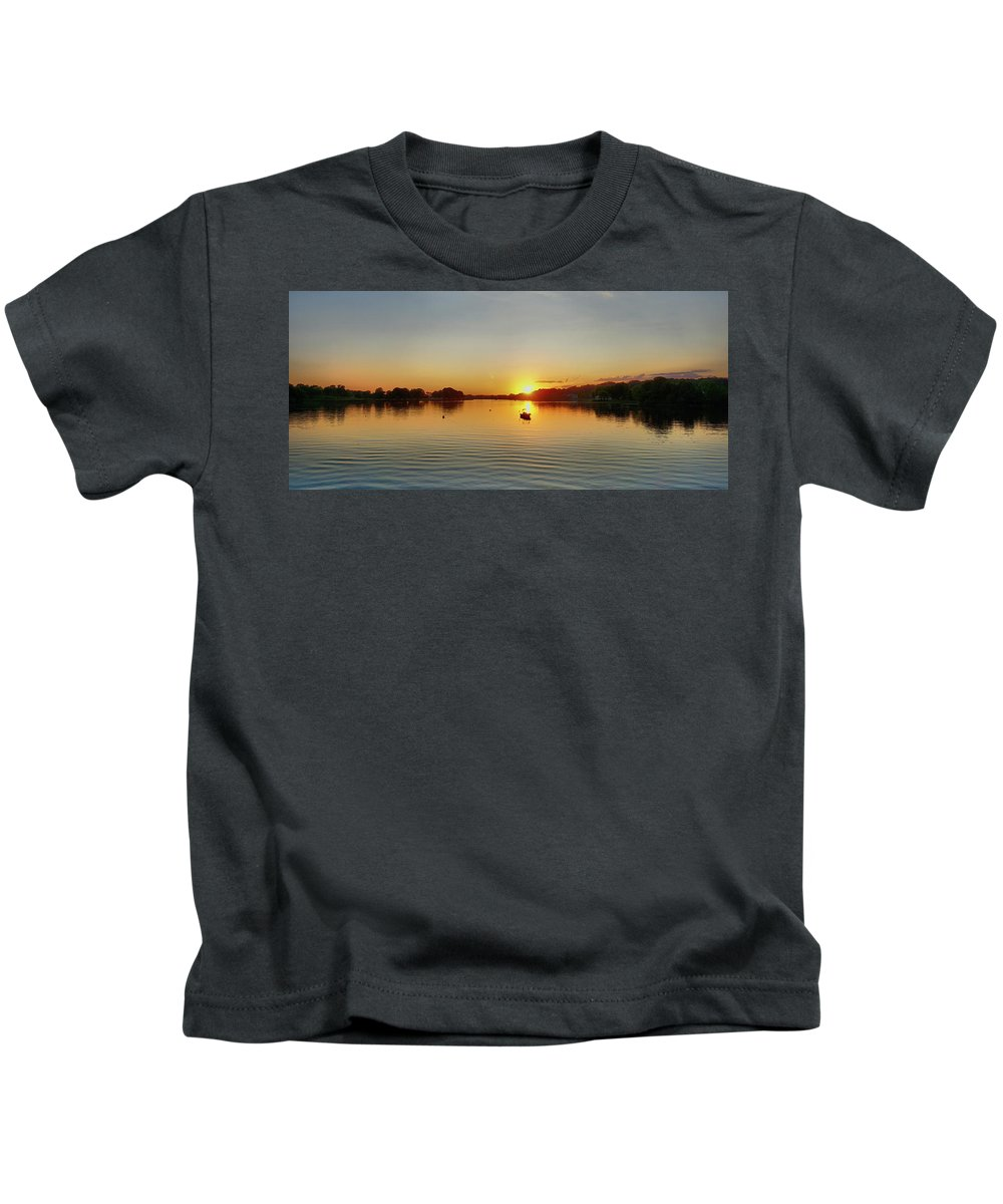 Panoramic Sunset Kids T-Shirt featuring the digital art Panoramic Sunset by Lilia D