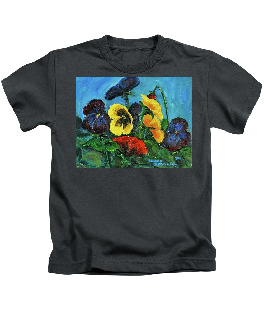 Floral Study Kids T-Shirt featuring the painting Pansies by Jennifer Christenson